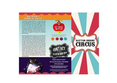 Tri-Fold Brochure for Antioch Shrine Circus